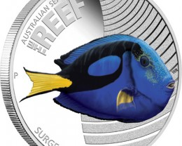 The Reef Surgeonfish 1/2 oz silver coin proof
