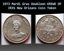 1973 Mardi Gras Doubloon KREWE OF IRIS New Orleans Token