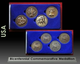 BICENTENNIAL COMMEMORATIVE MEDALLION SET, 4