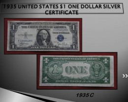 1935 UNITED STATES $1 ONE DOLLAR SILVER CERTIFICATE