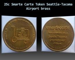 25c Smarte Carte Token Seattle-Tacoma Airport brass