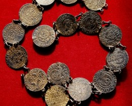 Silver 1600s Poland old coin bracelet