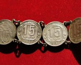 USSR old coin bracelet 1932-1939