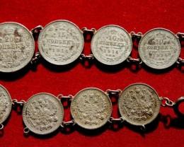 USSR Silver old coin bracelet 1913-1914