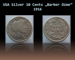 "USA Silver 10 Cents ""Barber Dime"" 1916 KM#113"