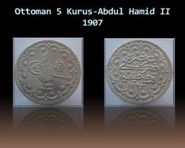 Ottoman 5 Kurus-Abdul Hamid II 1907 KM# 737 Rare