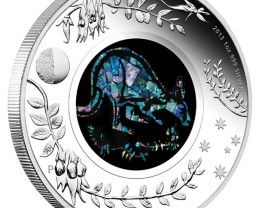 Kangaroo Opal Coin 2013 one ounce Proof silver