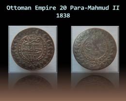 Ottoman 20 Para-Mahmud II 1838 KM# 596
