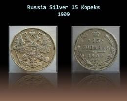 Russia Silver 15 Kopeks 1909 Y#21a.2