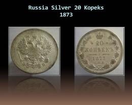 Russia Silver 20 Kopeks 1873 Y#22a.1