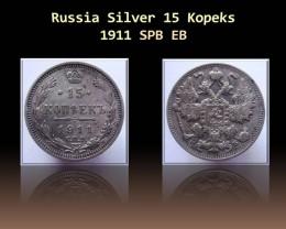 Russia Silver 15 Kopeks 1911 Y#21a.2