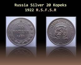 Russia Silver 20 Kopeks 1922 R.S.F.S.R  Y#82