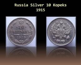 Russia Silver 10 Kopeks 1915 Y#20a.2