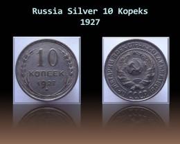 Russia Silver 10 Kopeks 1927 Y#86
