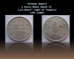 Ottoman 2 Kurus-Abdul Hamid II 1904 KM# 736 Rare