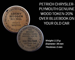 USA PETRICH CHRYSLER-PLYMOUTH GENUINE WOOD TOKEN