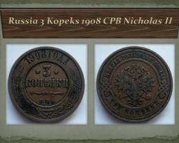 Russia 3 Kopeks 1908 CPB Nicholas II Y#11