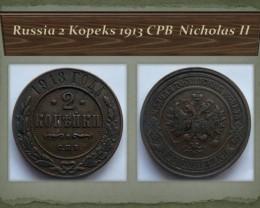 Russia 2 Kopeks 1913 CPB Nicholas II Y#10.2