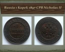 Russia 1 Kopek 1897 CPB Nicholas II Y#9.2
