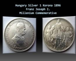 Hungary Silver1 Korona 1896 Franz I. Millenium Commemorative