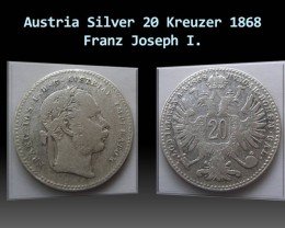 Austria Silver 20 Kreuzer 1868 Franz Joseph I. KM#2212
