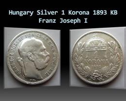 Hungary Silver 1 Korona 1893 KB Franz Joseph I. KM#484