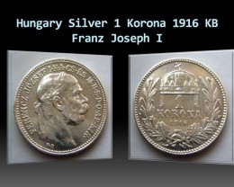 Hungary Silver 1 Korona 1916 KB Franz Joseph I. KM#492