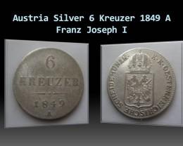Austria 6 Kreuzer-Franz Joseph I. 1849 A KM#2200