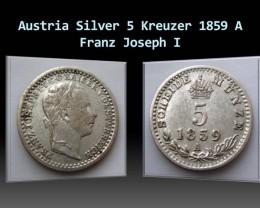 Austria Silver 5 Kreuzer 1859 A Franz Joseph I. KM#2197