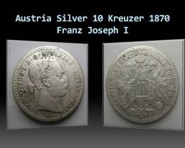 Austria Silver 10 Kreuzer 1870 Franz Joseph I. KM#2206