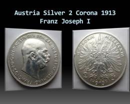 Austria Silver 2 Corona 1913 Franz Joseph I. KM#2821