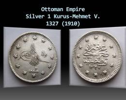 Ottoman Empire 1 Kurus-Mehmet V. 1327 (1910) KM#748