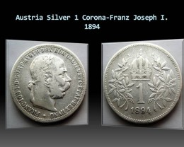 Austria Silver 1 Corona-Franz Joseph I. 1894 KM#2804