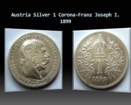 Austria Silver 1 Corona-Franz Joseph I. 1899 KM#2804