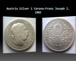 Austria Silver 1 Corona-Franz Joseph I. 1902 KM#2804