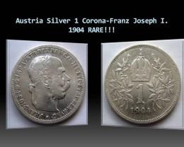 Austria Silver 1 Corona-Franz Joseph I. 1904 KM#2804 RARE!!!