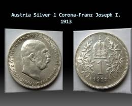 Austria Silver 1 Corona-Franz Joseph I. 1913 KM#2820
