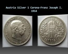 Austria Silver 1 Corona-Franz Joseph I. 1914 KM#2820
