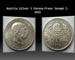 Austria Silver 1 Corona-Franz Joseph I. 1915 KM#2820
