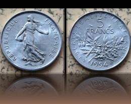 "France 5 Francs signature O.Roty"" 1994 KM#926a.1"