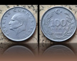 Turkey 100 Lira 1988 KM#967