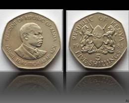Kenya 5 Shillings 1985 KM#23