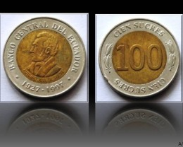 Ecuador 100 Sucres (70th Central Bank) 1997 KM#101
