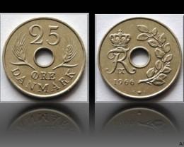 Denmark 25 Öre-Frederik IX. 1966 KM#856