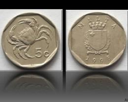 Malta 5 Cents 1998 KM#95