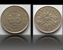 Singapore 10 Cents (ribbon upwards) 1986 KM#51