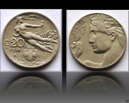 Italy 20 Centesimi-Vittorio Emanuele III. 1913R KM#44