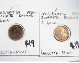 TWO MINT 1/12 ANNA 1935-34 INDIA  COINS J 2005