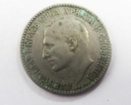 1925 Serbia 1 Anhap Dinar Nickel Bronze Coin J2020