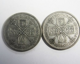 TWO FLORIN .500 SILVER 1936-35 J2024